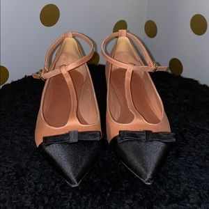 Tory Burch Bow Pointed Toe Flats with Ankle Strap